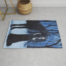 Midnight Travelers Gothic Fairy and Unicorn Rug