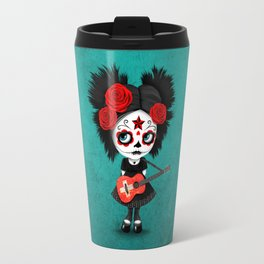 Day of the Dead Girl Playing Swiss Flag Guitar Travel Mug