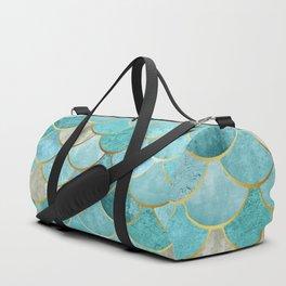 Moroccan Mermaid Fish Scale Pattern, Aqua,Teal Duffle Bag