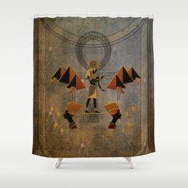 Anubis the egyptian god, pyramid Shower Curtain