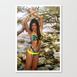 [ BIODIVERSE.CO ] Colombian Exotic Sexy Girl Ween on the Rocks Canvas Print