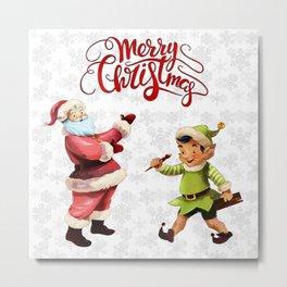 Merry Christmas Embroidery Santa Elf Metal Print