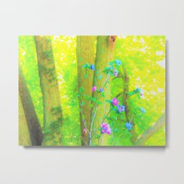 Hot Pink Abstract Rose of Sharon on Bright Yellow Metal Print