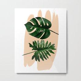 Green leaf on pastel color #society6 Metal Print