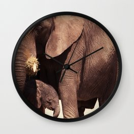Elephants, mother and child Wall Clock