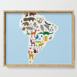 South America sloth anteater toucan lama bat fur seal armadillo boa manatee monkey dolphin Serving Tray