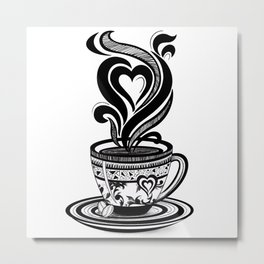 Coffee Love, Coffee Cup, Coffee Doodle Art, Coffee Illustration, Black and White Coffee Design Metal Print