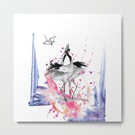 Crane dance Metal Print