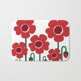 Red poppy designers flowers Bath Mat