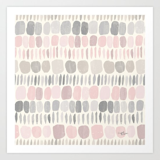 Soft Blush Stones Art Print