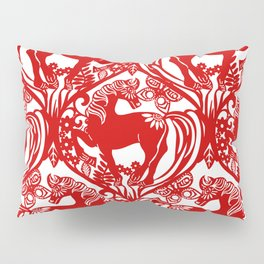 2014 Year of the Horse - Chinese Paper Cut Inspired Pillow Sham