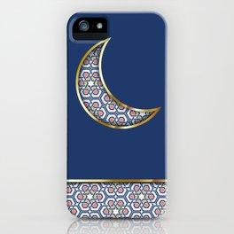 Patterned crescent on dark blue iPhone Case