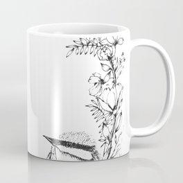 Chickadee a top Botanical Wreath Coffee Mug