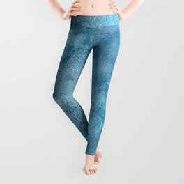 Wish for You, textured abstract turquoise art Leggings
