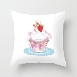 Strawberry Cupcake  Throw Pillow