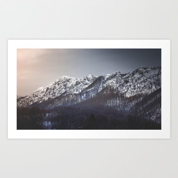 Snowy Mountain Range Art Print