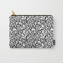 Ornamental Foliage Black And White Pattern Carry-All Pouch