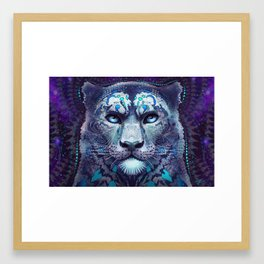 Snow Leopard Late Night Framed Art Print