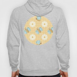 Cute Bees & Daises Pattern with Gingham Background Hoody