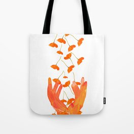 Wonderful Poppy Flowers Orange Coral Color White Background #decor #sociey6 #buyart Tote Bag