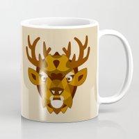 reindeer Mugs featuring REINDEER by Sky-blitz