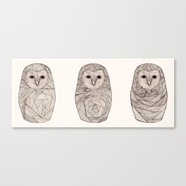 Three Russian Owls Canvas Print