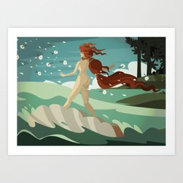 surfing venus Art Print