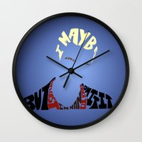 buffy the vampire slayer Wall Clocks featuring Spike - Buffy the vampire slayer by Rebecca McGoran