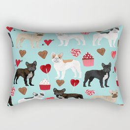 English Bulldog valentines day hearts cupcakes dog pattern gifts dog breeds by pet friendly Rectangular Pillow