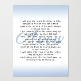 Avow, a Poem Canvas Print