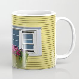 Yellow house with flowerbox in Chester, Nova Scotia Coffee Mug