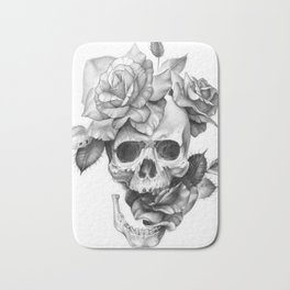 Black and white Skull and Roses Bath Mat