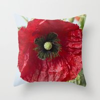 poppy Throw Pillows featuring Poppy by Maria Heyens