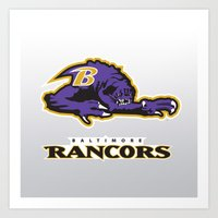 nfl Art Prints featuring Baltimore Rancors - NFL by Steven Klock