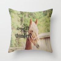 scripture Throw Pillows featuring Job 39: 19 Horse Scripture by KimberosePhotography