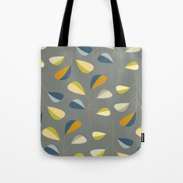Mid Century Modern Graphic Leaves Pattern 3. dark grey Tote Bag