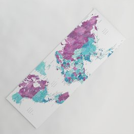 """Purple and turquoise watercolor world map with cities, """"Blair"""" Yoga Mat"""