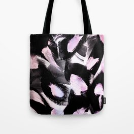 black, pink and white abstract painting Tote Bag