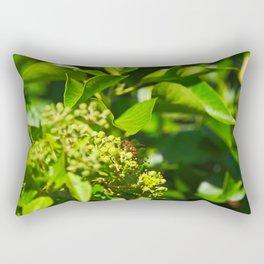 A Bee Gathering Pollen On English Ivy Rectangular Pillow