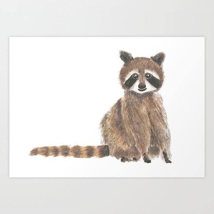 baby raccoon watercolor Art Print