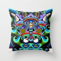 hindu Throw Pillows featuring Shiva (Hindu) by Jim Pavelle