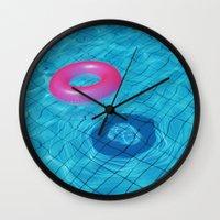 pool Wall Clocks featuring Pool by Lama BOO