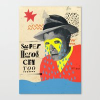 superheros Canvas Prints featuring superheros cry too by crayon dreamer