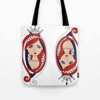 american Tote Bags featuring American  by Gabriela Borges