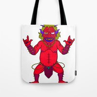 fat Tote Bags featuring Fat Demon by  Grotesquer