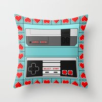 video game Throw Pillows featuring Video Game Lover : NES by The Geek Inside Me