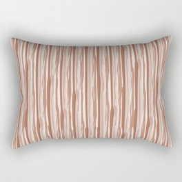Cavern Clay SW 7701 Vertical Grunge Abstract Line Pattern on Pure White Rectangular Pillow