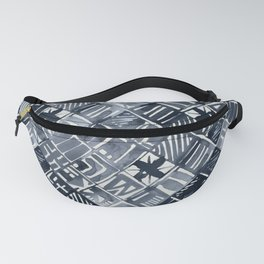 Simply Tribal Tiles in Indigo Blue on Lunar Gray Fanny Pack