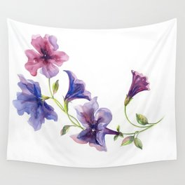 Watercolor branch of petunia. Wall Tapestry