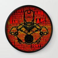 avenger Wall Clocks featuring Iron Avenger by Rachcox